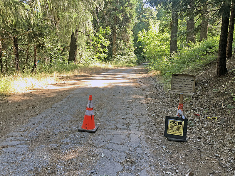 No Trespassing sign on Pony Express Trail east of Pollock Pines